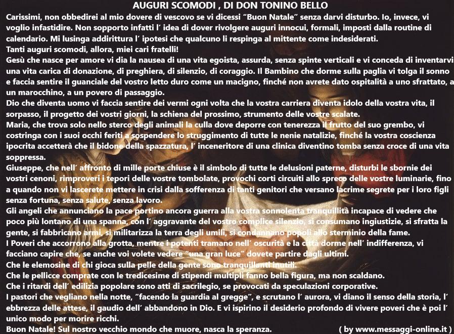 """Gli auguri scomodi di Tonino Bello o , come amava firmarsi, """"Don Tonino, vescovo"""" sono auguri di Natale molto toccanti che richiamano al senso profondo e originario del Natale."""
