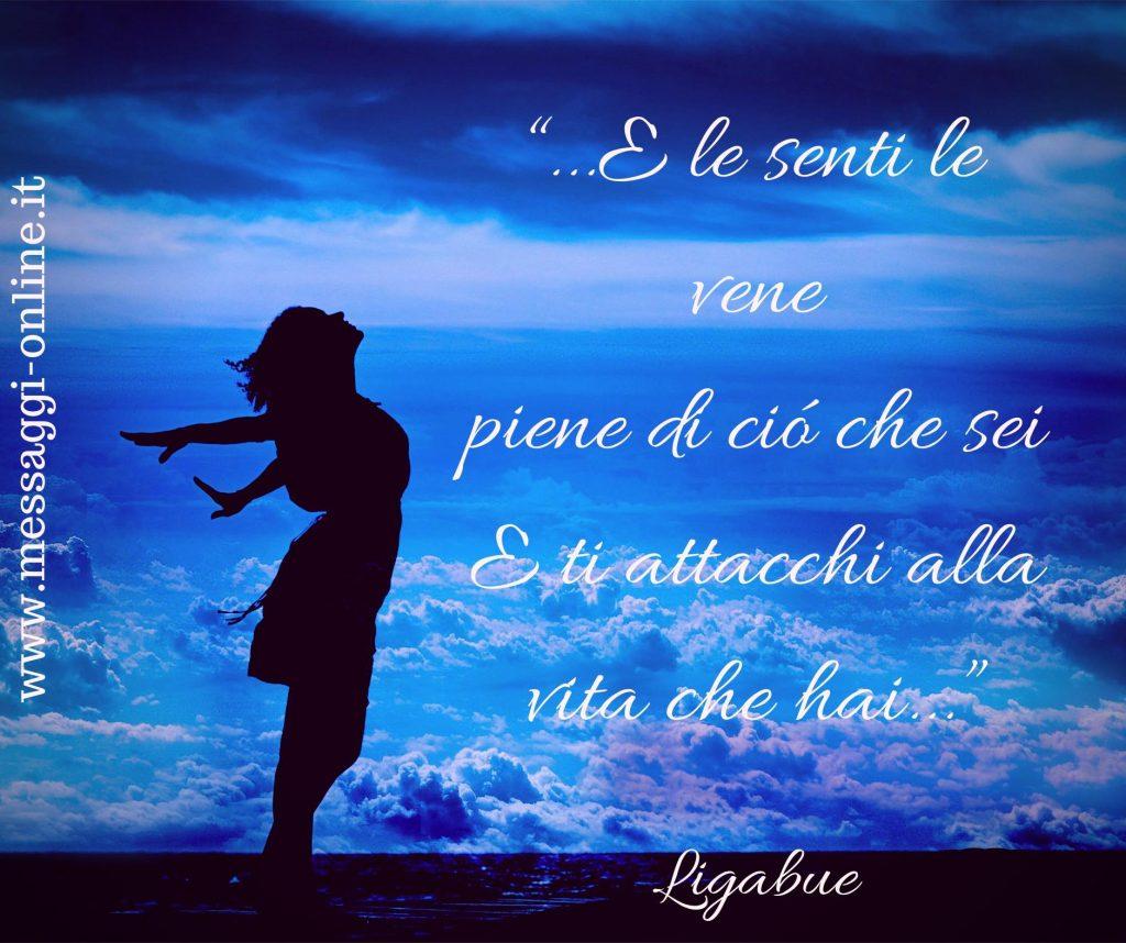 """Luciano Ligabue:""""E le senti le vene piene di ciò che sei/ e ti attacchi alla vita che hai""""."""