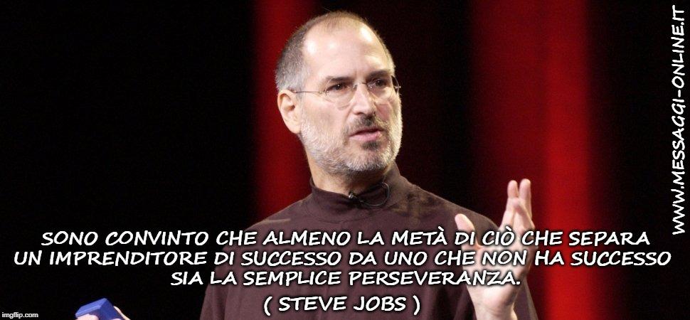 Sono convinto che almeno la metà di ciò che separa un imprenditore di successo da uno che non ha successo sia la semplice perseveranza. ( Steve Jobs )