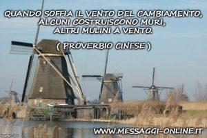 Quando soffia il vento del cambiamento, alcuni costruiscono muri, altri mulini a vento. ( Proverbio Cinese )