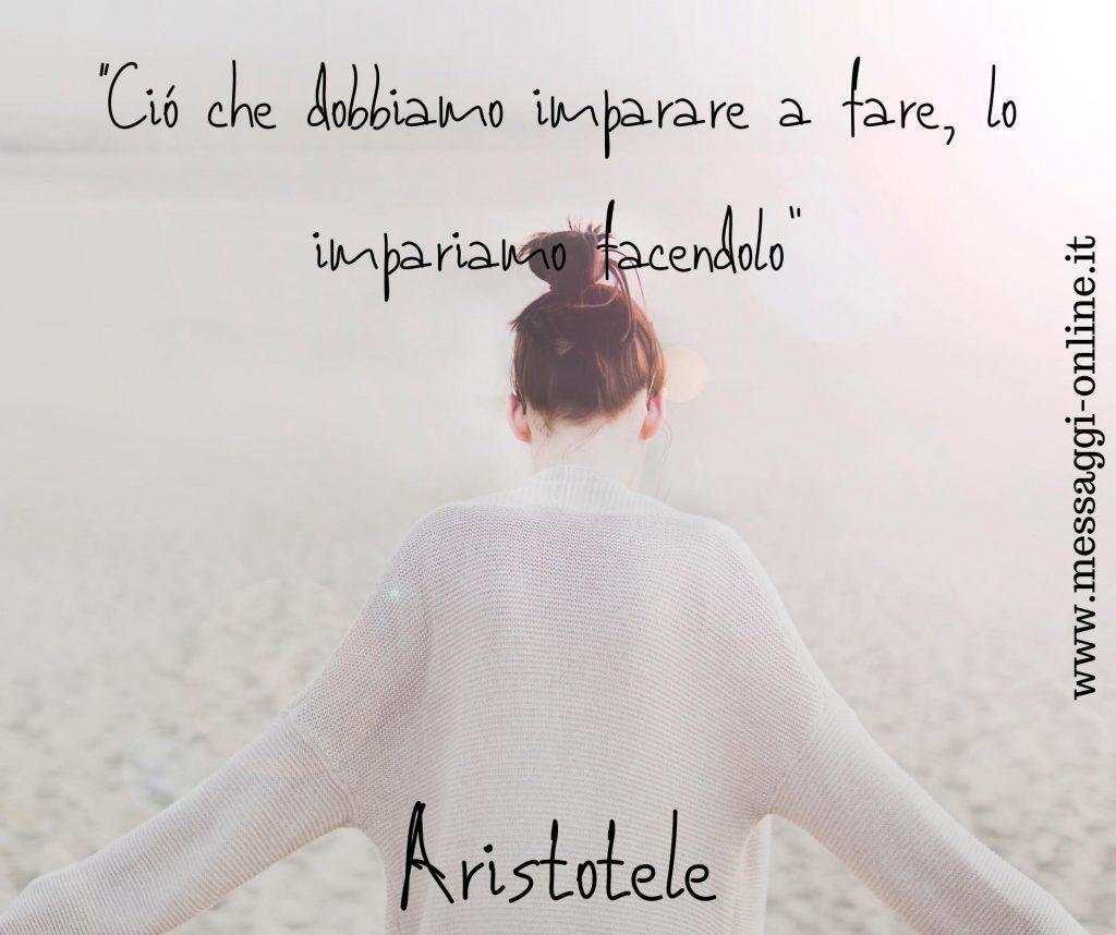"""Aristotele:""""Ciò che dobbiamo imparare a fare, lo impariamo facendolo""""."""
