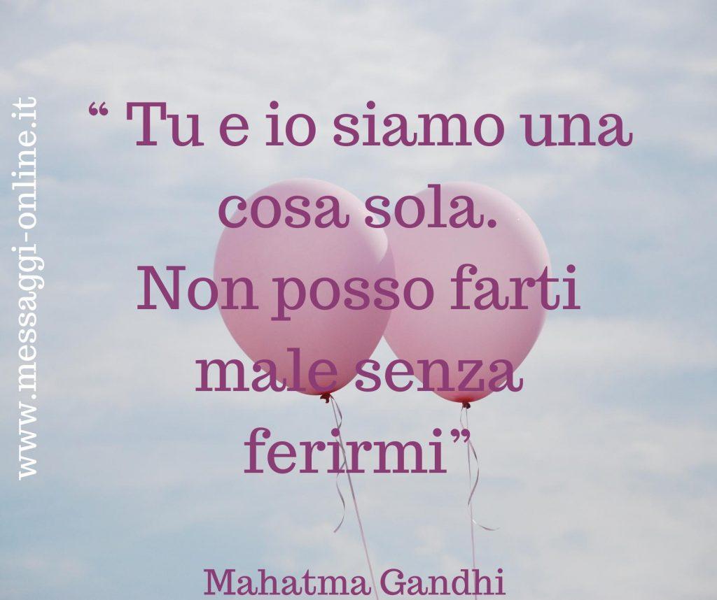 """Mahatma Gandhi:""""Tu e io siamo una cosa sola. Non posso farti male senza ferirmi""""."""