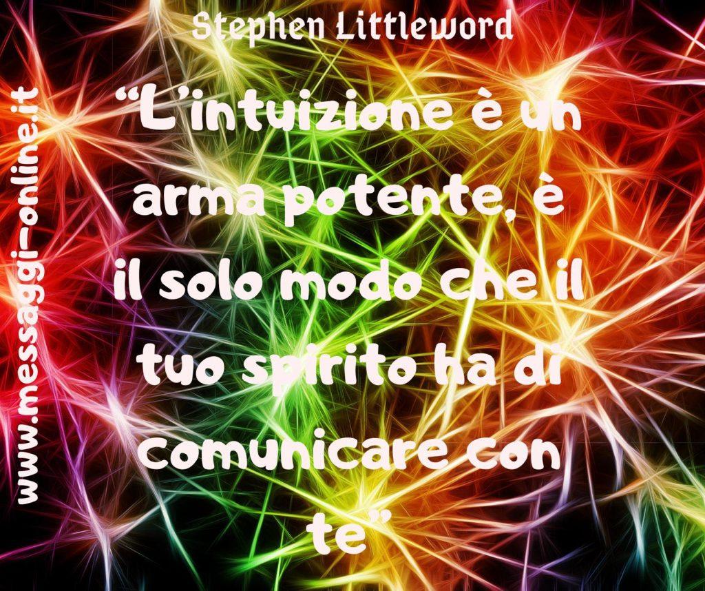 L'intuizione è un'arma potente, è il solo modo che il tuo spirito ha di comunicare con te. (Stephen Littleword)