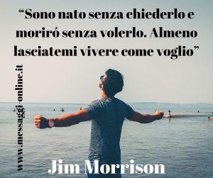 Sono nato senza chiederlo e morirò senza volerlo. Almeno lasciatemi vivere come voglio. (Jim Morrison)