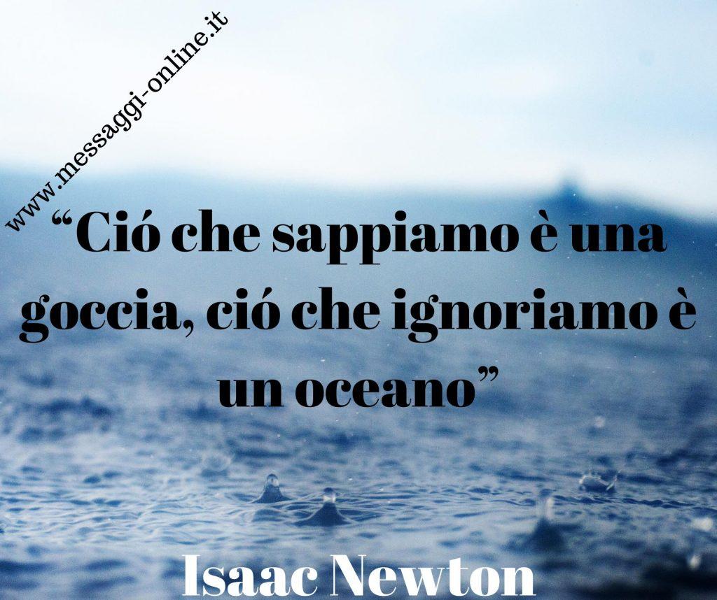 Ciò che sappiamo è una goccia, ciò che ignoriamo è un oceano. (Isaac Newton)