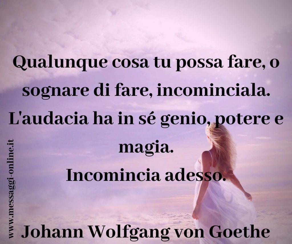 """Johann Wolfgang von Goethe: """"Qualunque cosa tu possa fare, o sognare di fare, incominciala. L'audacia ha in sé genio, potere e magia. Incomincia adesso""""."""