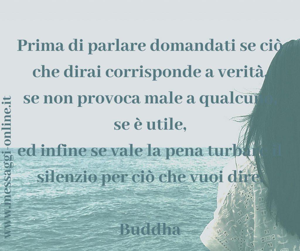 Prima di parlare domandati se ciò che dirai corrisponde a verità, se non provoca male a qualcuno, se è utile, ed infine se vale la pena turbare il silenzio per ciò che vuoi dire. Buddha