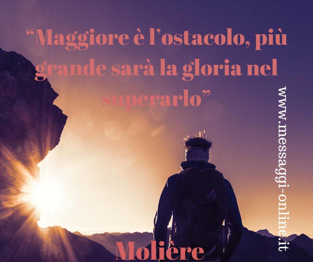 Maggiore è l'ostacolo, più grande sarà la gloria nel superarlo. (Molière)