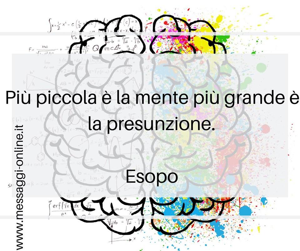 Più piccola è la mente più grande è la presunzione. Esopo