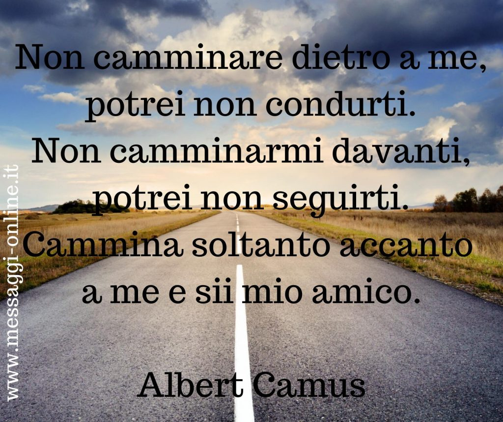 Non camminare dietro a me, potrei non condurti. Non camminarmi davanti, potrei non seguirti. Cammina soltanto accanto a me e sii mio amico. Albert Camus