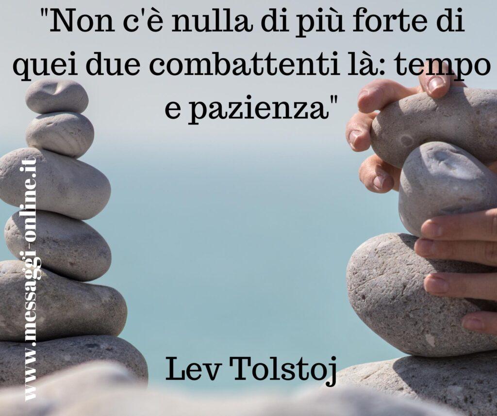 """Lev Tolstoj: """"Non c'è nulla di più forte di quei due combattenti là: tempo e pazienza""""."""