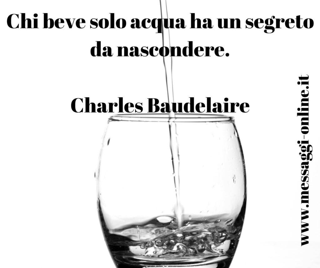 Chi beve solo acqua ha un segreto da nascondere. Charles Baudelaire