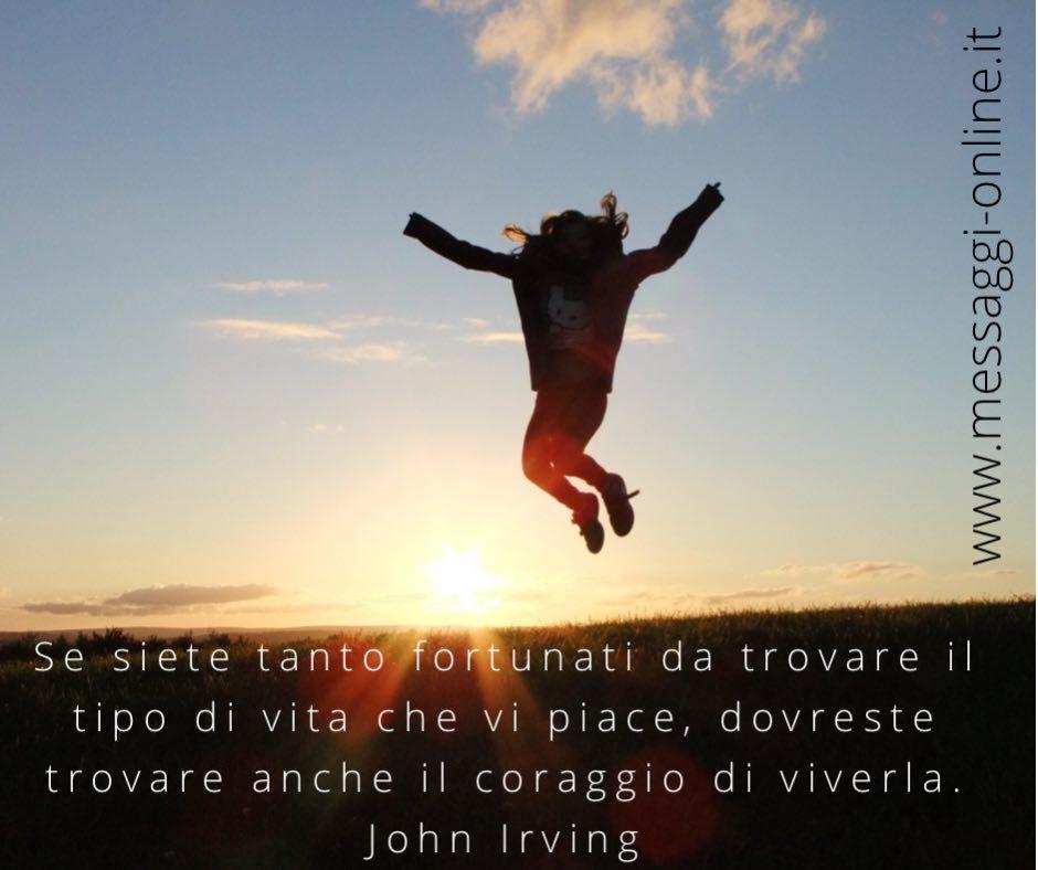 Se siete tanto fortunati da trovare il tipo di vita che vi piace, dovreste trovare anche il coraggio di viverla. John Irving