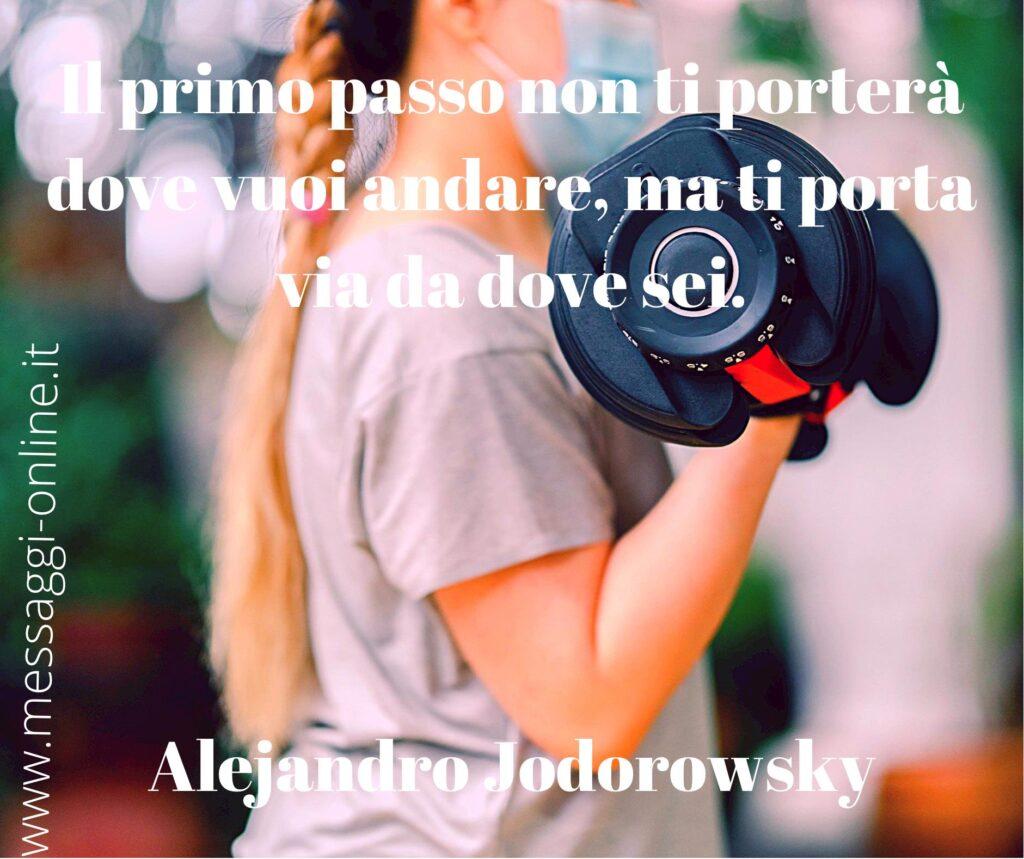 Il primo passo non ti porterà dove vuoi andare, ma ti porta via da dove sei. Alejandro Jodorowsky
