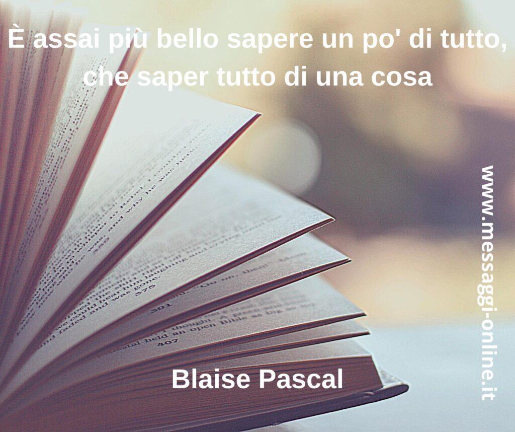 È assai più bello sapere un po' di tutto, che saper tutto di una cosa Blaise Pascal