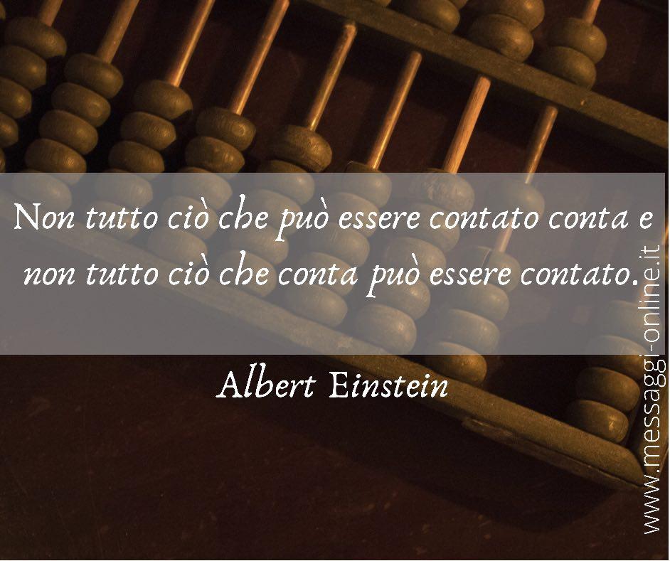 Non tutto ciò che può essere contato conta e non tutto ciò che conta può essere contato. Albert Einstein